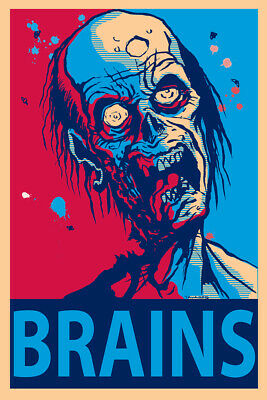 Zombie Brains Funny Poster 24x36 - Zombie Brains