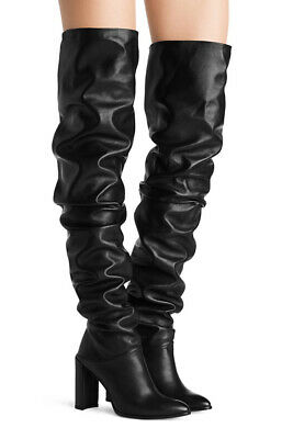 Stuart Weitzman Histyle HIGH HEEL BLACK LEATHER Slouchy OVER THE KNEE BOOTS 6.5