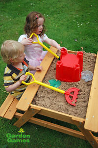 NEW Childrens Wooden Picnic Table with Sand Pit by Garden Games Ltd RRP £84.99