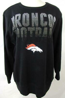 Denver Broncos Womens Small Screened Crew Sweatshirt with Rhinestones ADEB 81 Denver Broncos Womens Sweatshirts
