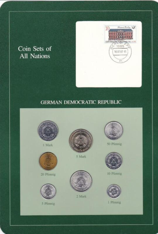East Germany Coin Sets of All Nations 1979 - 1981 UNC w/ Stamp
