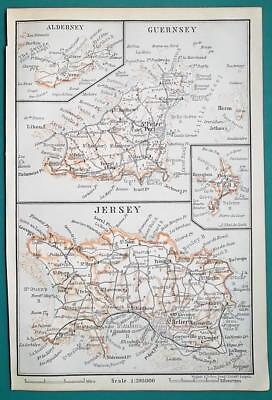 1897 BAEDEKER MAP - UNITED KINGDOM Channel Islands  Guernsey Jersey Sark