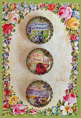 Set of 3 LANGUAGE OF FLOWERS Filigree Brass GLASS DOME BUTTONS VICTORIAN FLORAL
