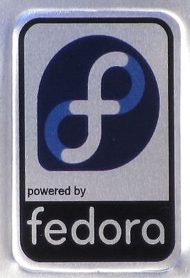powered by fedora linux Aluminium Metal Case Badge - Sticker