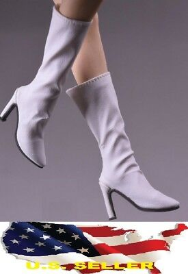 1/6 woman classic leather white boots for phicen hot toys verycool kumik ❶USA❶ (Hot Widow Boots)