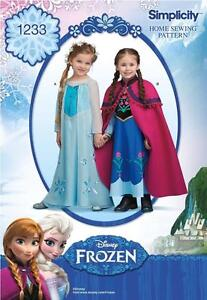SIMPLICITY SEWING PATTERN Disney Frozen Anna & Elsa Child's Costume  3-8 1233