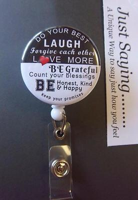 DO YOUR BEST (Inspirational Thoughts) Blk/White Retractable Reel ID Badge