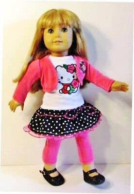 """Doll Clothes HELLO KITTY Fits American Girl Doll, 18"""" Dolls 4pc Top,Skirt,Jacket"""
