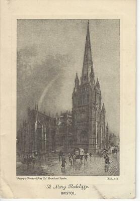 CHRISTMAS - ARTIST CHARLES BIRD  ST MARY CHURCH BRISTOL 1935 OPENING CARD Charles Church Artist