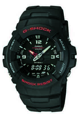 - Casio G-Shock Men's Ana-Digi Black Resin Band Sport 47.5mm Watch G100-1BV