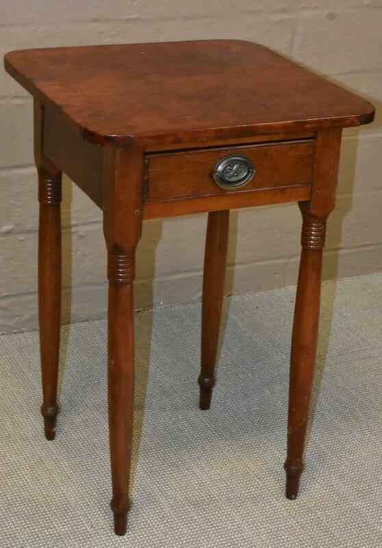 Sheraton Style Cherry Single Drawer Nightstand Circa 1870