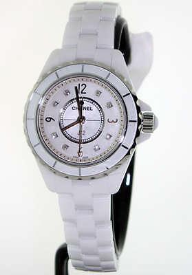 Chanel J12 White Ceramic 29mm White Diamond Dial H2570