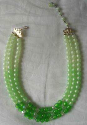60s -70s Jewelry – Necklaces, Earrings, Rings, Bracelets VINTAGE 1960'S 3 STRAND 3 SHADES GREEN MOONGLOW BEADS NECKLACE $15.47 AT vintagedancer.com