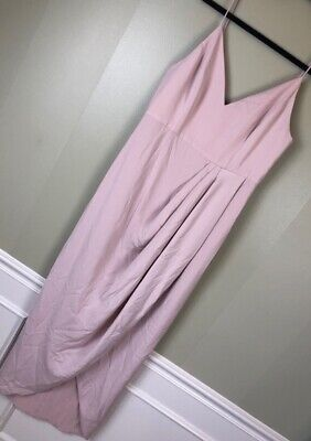 A-609 Shona Joy Cocktail Draped Dress Pink V Neck Spaghetti Strap Lined 6 New