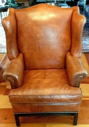 Leather Chair Ethan Allen Vintage Wing Back - Top Grain Leather Nice Condition