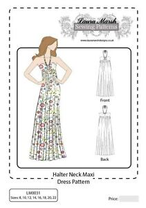 Halter Neck Maxi Dress Sewing Pattern Sizes 8-22 NEW PAPER PATTERN