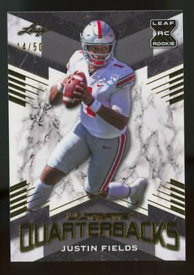 2021 Leaf Ultimate Quarterbacks Gold XRC Justin Fields /50 RC Rookie