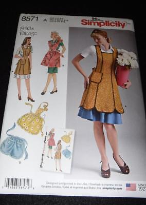 Simplicity 8571 Pattern 4 Aprons 1940's Vintage  Sizes 10-20