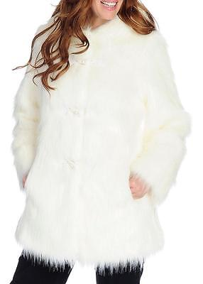 NEW - Pamela McCoy Shaggy Faux Fur Long Sleeved Toggle Front Hooded Coat ()