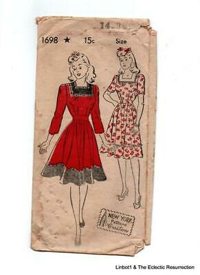 "1940s Dress Square Neck New York Pattern Unprinted 32""bust 35"" hip"