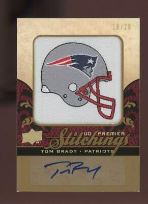 2008 Upper Deck Premier Stitchings Tom Brady 18/20 Jersey Auto Autograph
