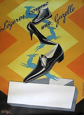 Vintage 1950's French Fashion Shoe Poster on Linen