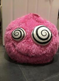 Girls pink fluffy monster beanbag
