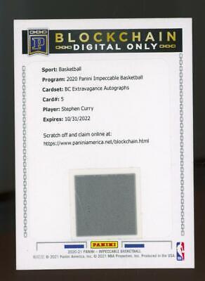 2020 Panini Impeccable Redemption Card Blockchain Stephen Curry Auto SP /15
