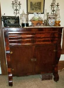 Antique 1848 American Empire Flame Mahogany Sideboard Buffet Server, Veneer