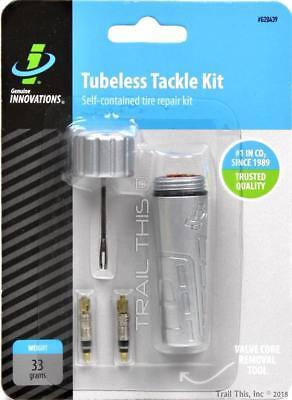 Genuine Innovations Tubeless Tackle Kit MTB Bike Tire Repair + 2 Cores & Bacon