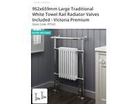 Chrome and white large towel rail radiator new