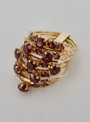 Vintage Harem Ring 18k Yellow Gold 25 Prong Set Faceted Garnets 5 Bands Gallery