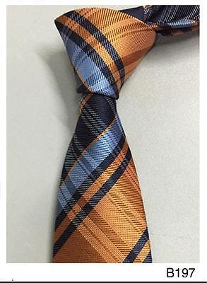 Orange and Blue Stripe Patterned Handmade 100% Silk Wedding Tie - Blue And Orange Wedding