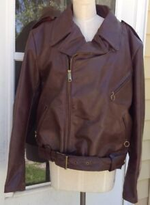 Brooks Leather Brown Motorcycle Jacket - Size 50 XXL