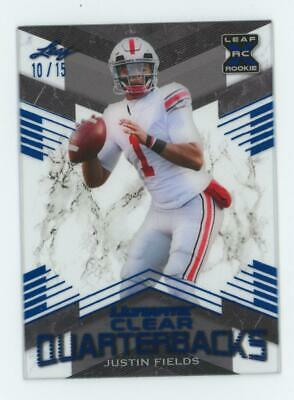 2021 Leaf Ultimate Clear Quarterbacks Blue Justin Fields 10/15 RC Rookie
