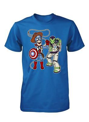 BNWT BUZZ LIGHTYEAR  AND WOODY TOY STORY AVENGERS MIX UP ADULT T-SHIRT S-XX