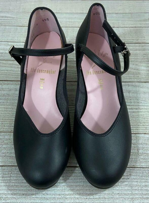 Capezio Black Leather Mary Jane Heeled Tap Shoes Womens 7 M Tele Tone Tap
