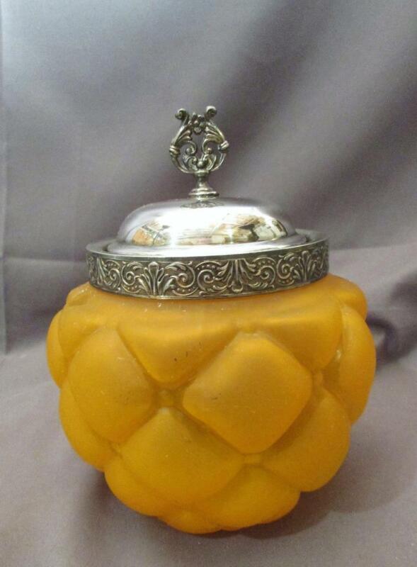 Unusual Antique Victorian Cracker Jar Biscuit Jar Florette Pattern Orange Glass