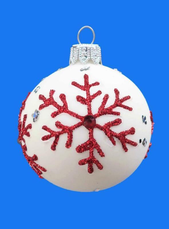 6cm ALPINE WHITE RED SNOWFLAKE BALL EUROPEAN BLOWN GLASS  ORNAMENT 122