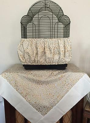 Handmade Gold Cheetah Print Bird Cage Skirt Seed Catcher Guard or Cover XS-XXL