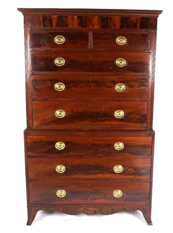 English Hepplewhite Mahogany Chest on Chest, Antique Tall Dresser