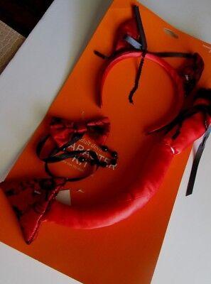 Devil Tail (Adult DEVIL COSTUME Character KIT 3pc NEW Horns Headband Tail Bowtie SEXY)