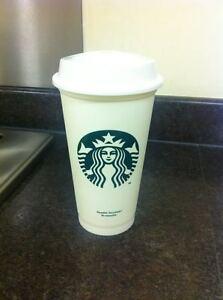 Starbucks White Reusable Travel Mug/Cup/Tumbler Grande Medium, 16oz 473ml, Costa
