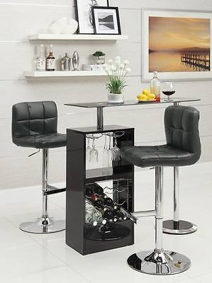 Dining Room Rectangular Bar Stool - Black Bar Table Set with Adjustable Bar Stool Chairs by Coaster 120451-102554