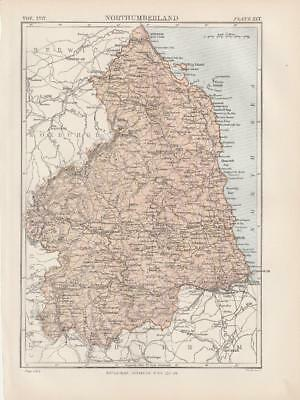 Northumberland Map by W & A K Johnston 1875