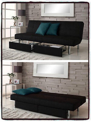 Futon Couch Sofa Bed Black Microfiber Convertible Sleeper Living Room Furniture Black Microfiber Couch