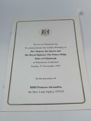 ORDER OF SERVICE Thanksgiving Queen Elizabeth II Golden Wedding Winchester 1997