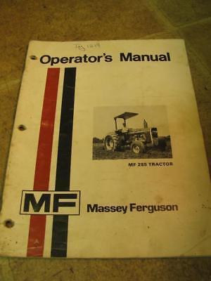 Massey Ferguson Mf285 285 Tractor Operators Manual