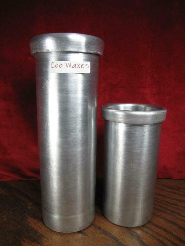 """(2) Aluminum Roll Top Pillar Candle Molds Seamless  3"""" x 9-1/2"""" & 6-1/2"""""""