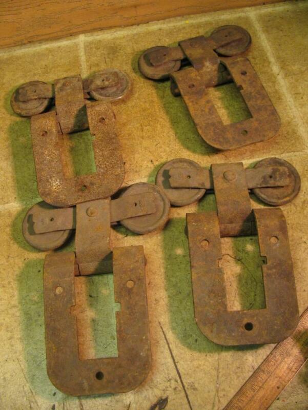 4 Old Barn Door Rollers Hangers Rusty Rustic Decor